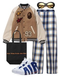 A fashion look from October 2017 featuring wide leg pants, nike footwear and round sunglasses. Browse and shop related looks. Kpop Fashion Outfits, Mode Outfits, Outfits For Teens, Girl Outfits, Rocker Chic Outfit, Cute Casual Outfits, Polyvore Outfits, Aesthetic Clothes, Streetwear Fashion