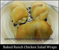 Baked Ranch Chicken Salad Wraps  SweetPepperRoseBlog  Two cans white chicken breast (drained)  (or cooked and shredded fresh chicken)  Two cans refrigerated cresent rolls  1 package of Cream Cheese, room temp  1 packet powdered Ranch dressing mix  1 cup (or more) Shredded Cheddar Cheese    Mix together and spoon evenly onto  cresents, roll up, bake according to package.