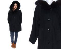 Hood Coat 60s Black Wool Fur Hooded Button by GravelGhostVintage