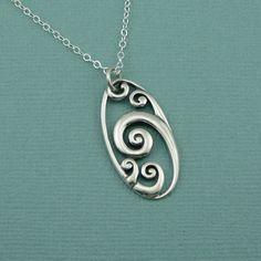 Wave Necklace, sterling silver , zen necklace , sterling silver, handmade, pendant. $42.00, via Etsy.