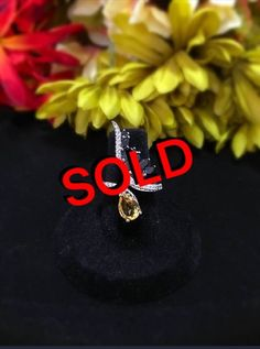 Brazilian Citrine And Thai Black Spinel Ring in size 6