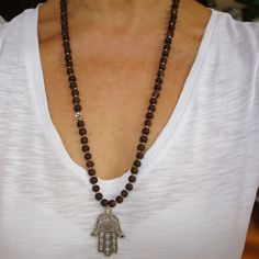 Hamsa Necklace Matte Brown Long Hamsa Necklace by CharmByIA