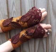 Forest Cuffs - Faerie Cuffs - Vintage lace cuffs