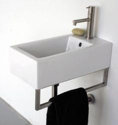 [gallery Still being confused what sink model you are going to install for your small bathroom? Now it has been produced the wide options of small wall mounted sink that fits a small bathroom. Small Bathroom Sinks, Tiny Bathrooms, Tiny House Bathroom, Bathroom Bath, Bathroom Showers, Smallest Bathroom, Bathroom Stuff, Bath Room, Small Basin