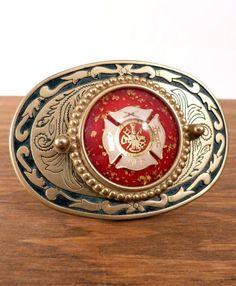 Firefighter Maltese Cross Brass Buckle | Shared by LION