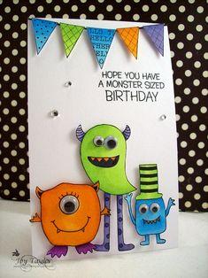 monster birthday with banner Creative Birthday Cards, Simple Birthday Cards, Homemade Birthday Cards, Birthday Cards For Boys, Bday Cards, Happy Birthday Cards, Homemade Cards, Diy Birthday, Monster Cards