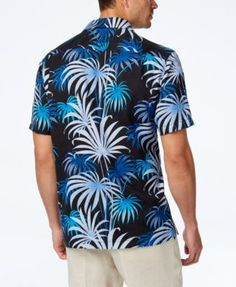 Tommy Bahama Men's Firework Palm Tropical-Print Silk Camp Shirt - Black XXL