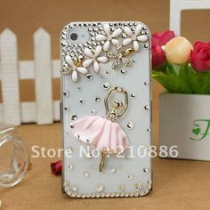 phone Case Cover for iphone4/4s,Rhinestone Crystal Diamond pearl,fashion flowerl ballet dance girl,5 colours,Free shipping $9.35
