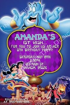Princess Jasmine Aladdin Invitations party favors Arabian nights Birthday in Specialty Services, Printing & Personalization, Invitations & Announcements Aladdin Birthday Party, Aladdin Party, Boy Birthday Parties, 5th Birthday, Birthday Ideas, Princess Jasmine Party, Disney Princess Party, Princess Party Favors, Cinderella Party