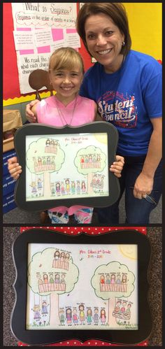 Special Teacher Appreciation gift - personalized drawing of teacher and students. We used drawing paper, colored pencils, and a Hobby Lobby frame. Love this:)