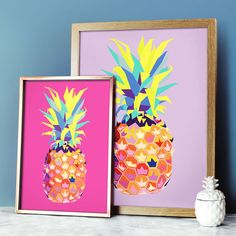 Add some tropical punch to your home with this pineapple print.  Featuring original artwork by Paper Plane, this multicoloured Pineapple design is available as an A4 print or an A3 print with a choice of three background colours - light blue, magenta pink and lilac.  If you like our pineapple print, check out our other listings for more pineapple products!  Please note: This print is sold unframed. The A4 print will be sent in a cellophane wrap contained within a card-backed envelope. The A3…