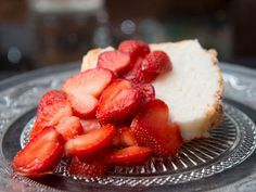 Angle food cake with strawberries, just one of Bonnie Stern's retro Canadian recipes, like the #strawberry social supreme angel food cake