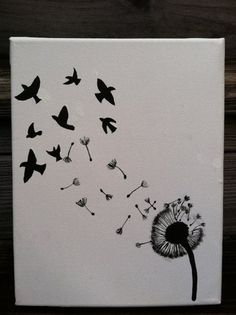 Original Canvas Painting  Dandelion and Birds by JordansCanvas, $17.00