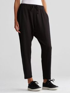 NWT Eileen Fisher Stretch Tencel Fleece Slouchy Drawstring Ankle Pants Black L #EileenFisher #SlouchyDrawstringAnkle
