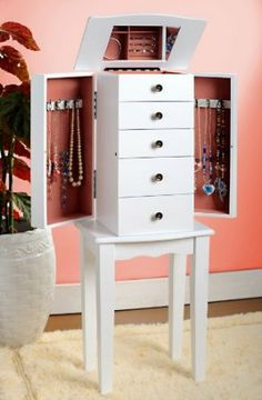 White Jewelry Armoire Chest SALE $77.95 & eligible for FREE Super Saver Shipping  find more items like this at www.ddsgiftshop.com visit and like us on facebook here www.facebook.com/pages/DDs-Gift-Shop/113955198649056