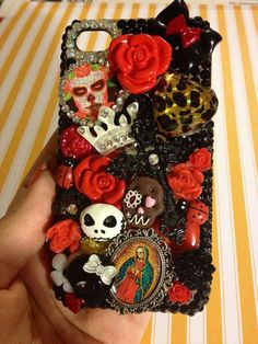 Dia De Los Muertos Sugar Skull iPhone 4 Bling Case by VampyVulcan