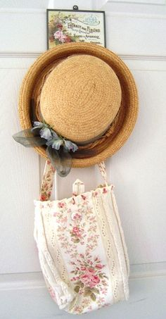 Straw hat & Rose Bag - Line the bag with heavy plastic and slip in your gardening tools. With hat on head - off to the garden!