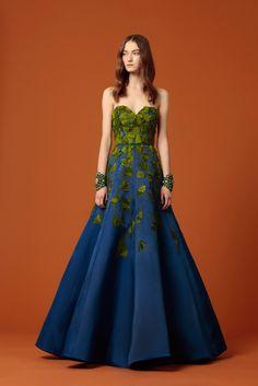 Andrew Gn Pre-Fall 2015 - Look 50 - Full-skirted floor length satin gown in a gradient of blue, adorned with acid-green folded fans of velvet