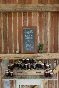 Chalk Sign by I DO Signs | Jam favors from DeLass Farmers Market | White Dress Events