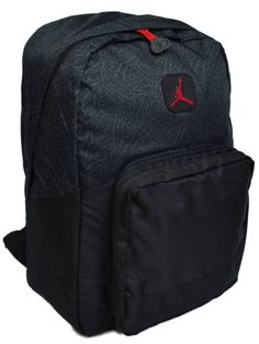 8aedc0b8e291 Nike Air Jordan Backpack Black Red Elephant School Book Bag Men Women Boys  Girls