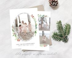 Merry Christmas Card Template Spread some holiday cheer this season with this elegant Christmas Card Template. Your beautiful family photos will look perfect in this 5x7 Christmas card. You can quickly and easily edit your card online in your web browser, then download and print right away! No Christmas Card Template, Printable Christmas Cards, Merry Christmas Card, Elegant Christmas, Christmas Photo Cards, Christmas Photos, Holiday Cards, Holly Christmas, Holiday Birth Announcement