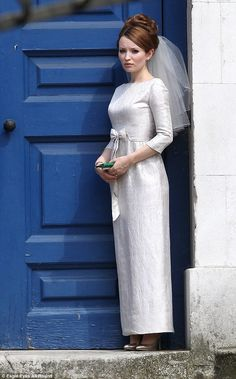 Dress to impress: Emily Browning sported a classic-style wedding dress  as the bride...