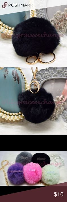 Black pom pom keychain fur ball NWOT! Brand new!! Made with Rabbit fur Gold hardware.  Size: (approx) Ball Diameter = 8cm  Its a keychain, you can also use it to put as purse charm, key fob or whatever your heart desires.   Great gift for your family, friends or your self.  ** color might be slightly different cause of the lightning  Great for your Louis Vuitton, Prada, Fendi, Chanel, Michael Kors, Gucci, Coach Tory Burch, Kate spade, Marc jacobs and others purses/bags. Accessories Key…