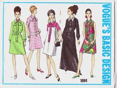 Vintage 1960s Vogue Basic Design Pattern 1884 by CloesCloset, $12.00