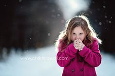 cute freezing girl in snow
