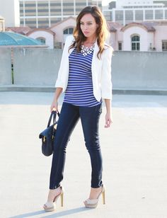 Blue & white stripes, white blazer, skinny jeans