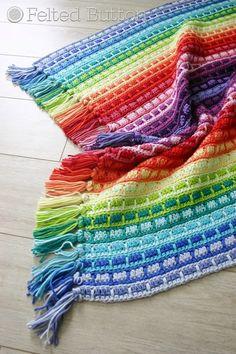Felted Button - Colorful Crochet Patterns: Color Reel Blanket Ta-Dah!