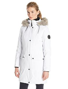 8523cb67c82 Parka with faux fur trim and patch pockets