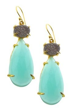 Druzy Quartz & Peruvian Chalcite Teardrop Dangle Earrings