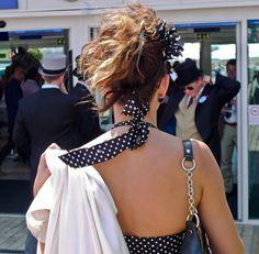 Polka dot fascinator at the Investec Epsom Derby