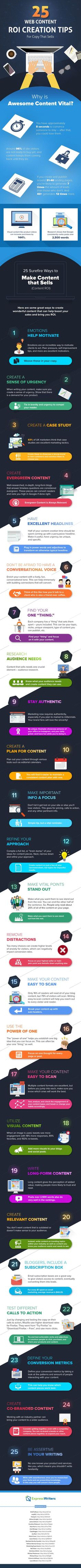 25 Surefire Ways to Create Web Content that Sells (Content Marketing ROI) - #Infographic (scheduled via http://www.tailwindapp.com?utm_source=pinterest&utm_medium=twpin&utm_content=post57877424&utm_campaign=scheduler_attribution)