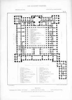 First floor plan, Palacio Real (Royal Palace), Madrid. Under king Alfonso XII (late XIX century).