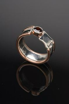 Rose gold and silver ring with garnet   Panurgic