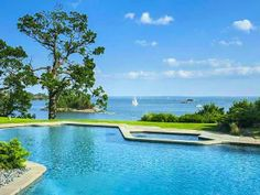 Pool and spa at Copper Beech Farm overlooking Long Island Sound