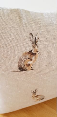Hare Cushion, Small Rabbit Pillow, Hartley Hare Cushion, Country Animal Cushion, Hare Pattern Both Sides, Decorative Cushion, Zipped Pillow