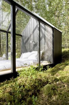 Helsinki architect Ville Hara and designer Linda Bergroth - customised the garden shed kit as a prototype to create a summer house, adding a wooden floor, solar panels for lighting and steps made from reclaimed bricks. Outdoor Spaces, Outdoor Living, Outdoor Bedroom, Garden Bedroom, Tiny House, Tool Sheds, Stargazing, My Dream Home, Future House