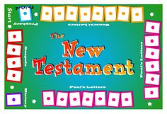 Great New Testament game idea from mrmarksclassroom.com.  Print gameboard on cardstock and laminate.  Using clothespins and a permanent marker, write one book of the New Testament per clothespin.  Drillers match the books of the Bible in order to the correct division.