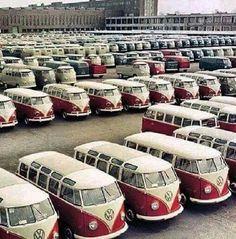 Wow - wall to wall Kombis - Internet Sourced Volkswagen Transporter, Vw Camper Bus, Transporteur Volkswagen, Vw Bus T1, Volkswagen Factory, Campers, Kombi Trailer, Combi Ww, Vw Minibus