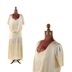 Vintage-20s-Cream-Rayon-Drop-Waist-Draped-Art-Deco-Wedding-Flapper-Dress-S