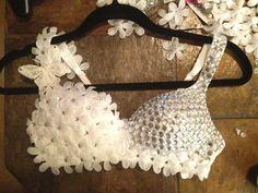 Go go dancer bra How To Make Clothes, Diy Clothes, Decorated Bras, Diy Bra, Music Festival Outfits, Tango Dress, Diy Scarf, Beautiful Barbie Dolls, Rave Outfits
