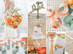 Tangerine, Butter and Sage - Classic Wedding Color Palettes from Spring to Winter - EverAfterGuide - Reminds me of spritzes!