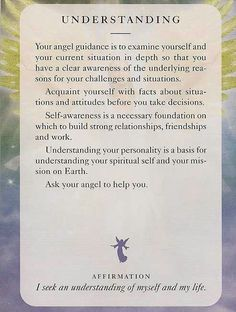 """Understanding"" From the Angels of Light Cards"