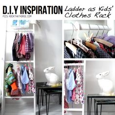 Great ideas for things to do with ladders. I especially like the kids' clothing rack because we have NO closet space.