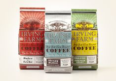 Alluring coffee bags for Irving Farm use a splendid combination of #typography and pattern treatment. By Louise Fili. #z3