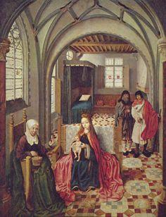 Niederländischer Meister: Heilige Familie im Gemach mit Anna und Joachim