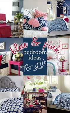 Blue and Pink Bedroom Ideas for Girls. Such cute ideas! entirelyeventfulday.com